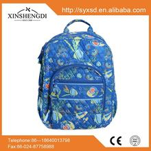 China manufacturers cotton floral quilted unique zip school book bag