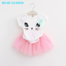 Bear Leader Girls Dress Brand Girls Clothing Sets Kids Clothes Cartoon Cat Print Pearls Voile Dress for 2-6Y