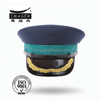 Navy military uniform cap with gold hand embroidery