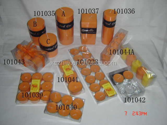 High Quality Custom Orange Pillar Candle Sets, Custom Shape Pillar Candle, Muti-Color Pillar Candles