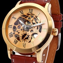 Classic Gold Dial Stainless Steel Case Coffee Leather Hollow Skeleton Men Automatic Mechanical Watch