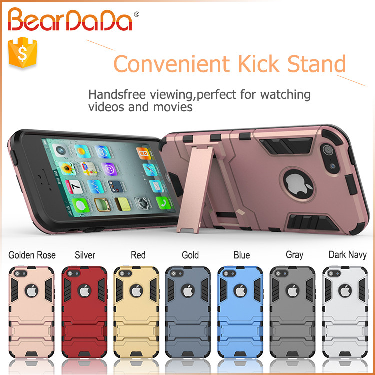TPU+PC hybrid kickstand rubber for iphone5s case