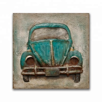 Vintage 3D Outdoor Car Metal Art Painting on Iron