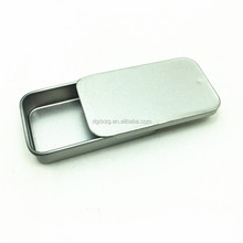 silver color mini candy tin case/box with slide lid