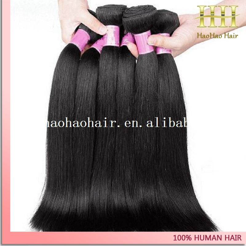 Grade 6a natural color 100% human hair weft 22 inches hair weave perm yaki straight
