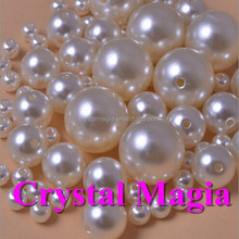 3mm white acrylic pearl beads flat back,round pearls with hole