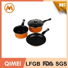 7pcs carbon steel cookware set for wal-mart market/belly shape