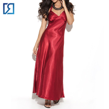 Wholesale Women's Long Nighgown Satin Halter Neck Gown in Plus Size