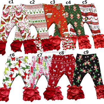 QYM-267 Latest designs Deer Pattern icing baby leggings for christmas clothing whlesale childrens boutique icing ruffle pants