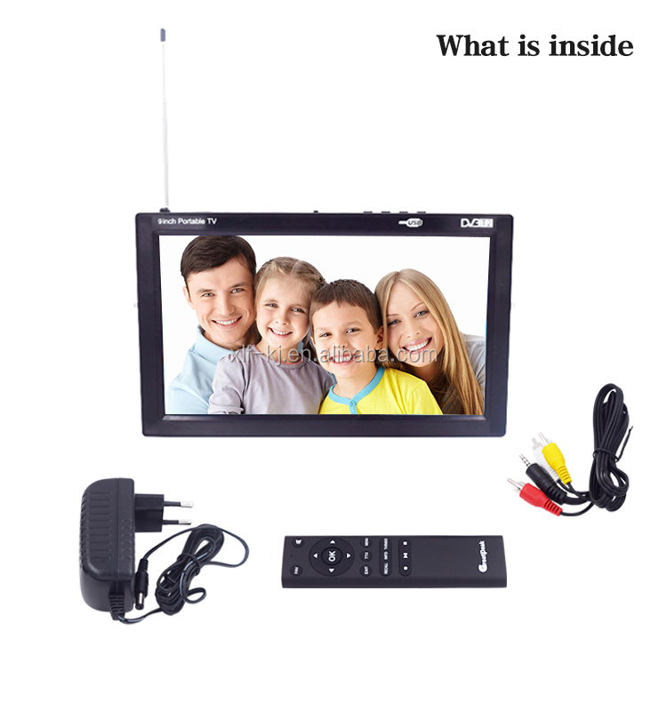 Hot selling 9 inch dvb t2 tv portable TV with built-in tunner DVBT, DVB-T2