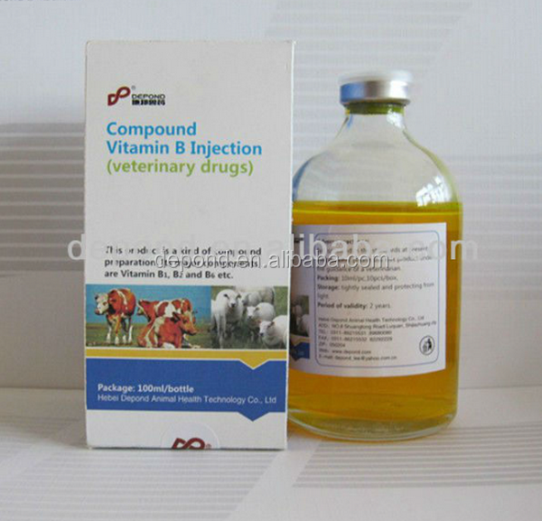 GMP factory Animal drugs company vitamin b complex injection for horse sheep cattle stomach disorders with depond brand or OEM