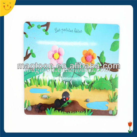Custom kids toys colorful printing board with magnetic stickers
