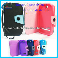 colurful phone purse button leather cover case for blu dash 3.5
