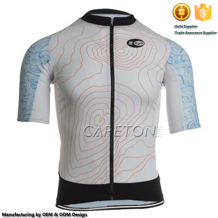2016 Cheap Sublimation Printing Full Length 1/4 Zipper Short Sleeves Cycling Jersey