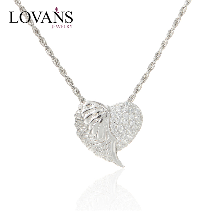 Handmade 925 Sterling Silver Jewellery Pendant Necklaces Angel Wing Heart Pendant Distributor Pety002