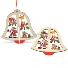 Custom Handmade Craft Star Bell Christmas Wooden Ornaments for Christmas Tree