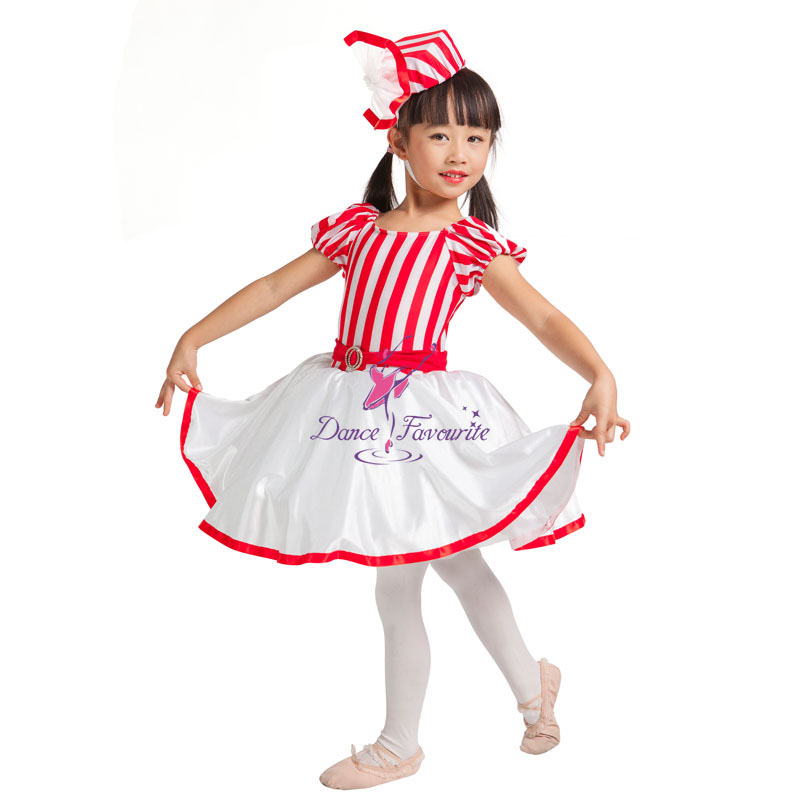 Child Red/White Striped Lycra and White Satin Underskirts Jazz Ballet Dance Costume Tutu Dresses 14009