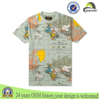 World map unisex full size printing t shirt buy printing for Full size t shirt printing