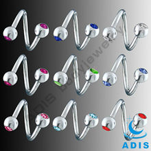 Hot sale spiral ring stainless steel twister barbell with double gems