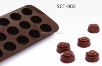 2016 Hot sale food grade FDA and LFGB Rose shape silicone chocolate mould and ice cube tray