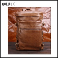 Fashion men cheap promotional leisure genuine leather backpack
