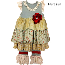 High quality baby girls vintage sleeveless pleated big ruffles flower top lace dress and pant fashion boutique clothing wear set