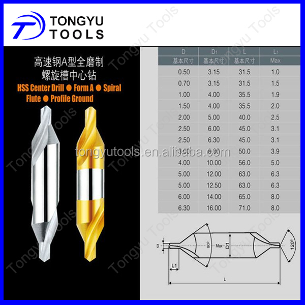 DIN333 HSS Centre Drill Bit 60 Degree Combined Countersink Spotting Drill Bit