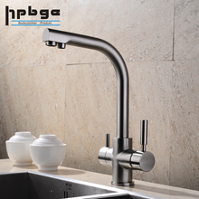 Brass RO Dual Handle Brushed Purify 3 Way Drinking Water Purifier Kitchen Faucet