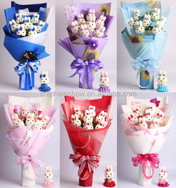 2017 NEW Valentine wedding gift cute cartoon flower bouquet for bride custom pretty blue soft plush toy teddy bear bouquet