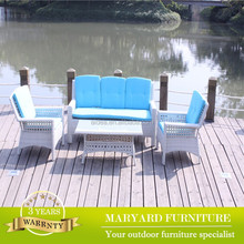 High Quality Outdoor Synthetic White Wicker Rattan Garden Furniture Sofa sets