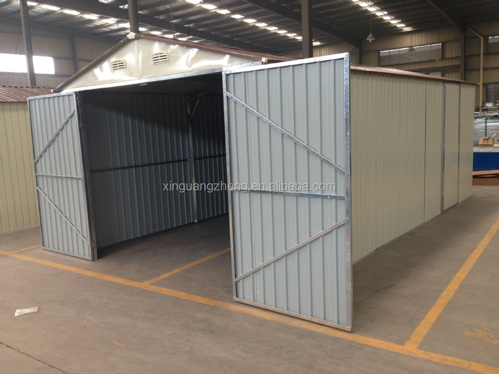 Low cost c z section steel corrugated sheet covered garage for Low cost garage