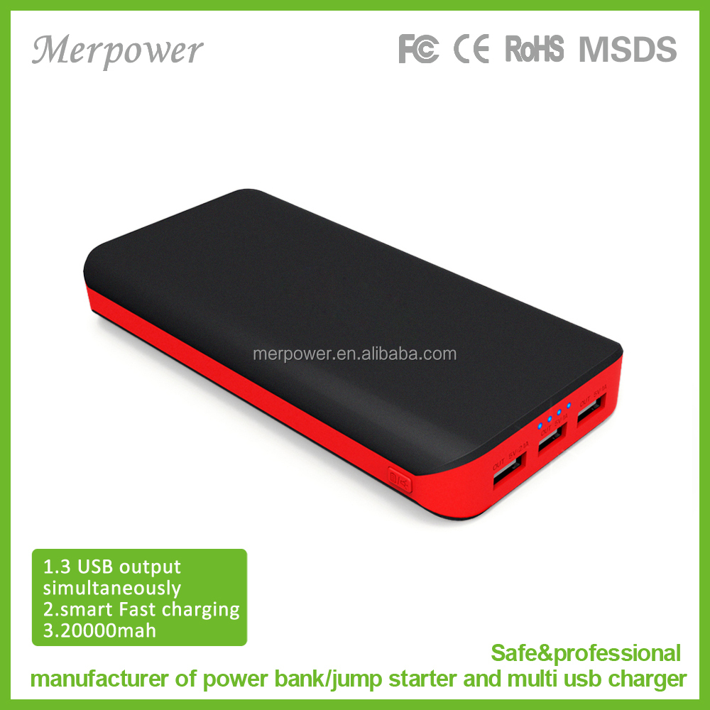 Wholesale 3 USB 5V/2.4A fast charging 20000mah mobile power bank