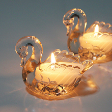 Hot sale Swan shape glass candle holder/glass candle jar with color/tea light holder