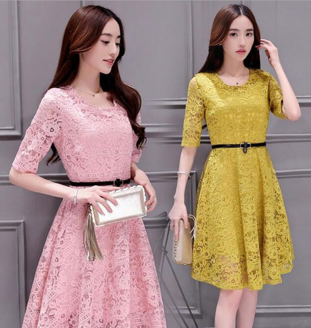 korean style slim lady clothes 2017 spring long sleeve lace dresses for women