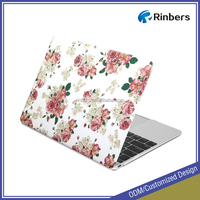 White Floral Rose Print Pattern Coated Cover Hard Case for Macbook Pro 13 13.3 15 15.4 inch Retina Display A1425 A1502 A1398
