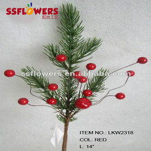 "high end christmas decorations artificial pine needle and diy foam red berry pick 14"" branches pick decoration in christmas"