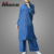Abaya Baju Kurung Design Muslim Clothing Hotsale Casual Two Pieces Denim Islamic Women Apparel Long Sleeve Blouse With Pants