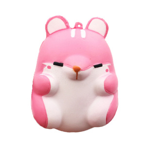 Hot selling PU animal decoration slow rising stress relief cute pink hamster squishy toy