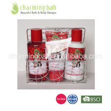 christmas bath gift set in wire basket