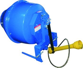 Heavy duty, tractor mounted concrete mixer suitable for CAT 1 three-point linkage tractors