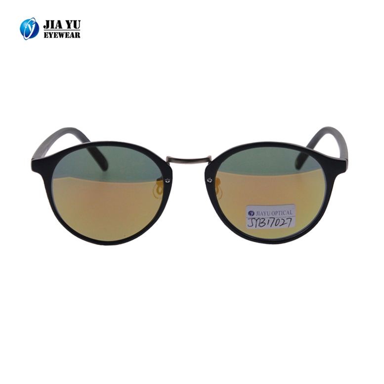 Fashion High Quality Black Frame Brand Wholesale Vintage Round Plastic Polarized Sunglasses