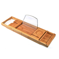 Luxury Adjustable Bamboo Bathtub Caddy Tray with Extending Arms