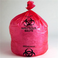 Large volume biodegradable plastic medical garbage bag in red color,tough and cheap