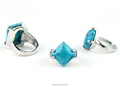 Wholesale Burnished Silver Zinc Alloy Blue Turquoise Rings Indian Jewelry