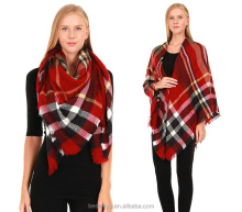 2016 new plaid shawl women fashion blanket wholesale turkish square scarf