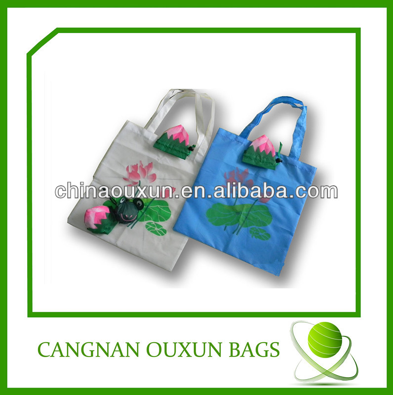 hottest competitive price nylon flower folding shopping bag