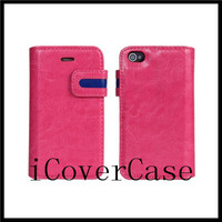 For iphone 4 4s Colorful ears leather wallet stand flip case cover with 6 colors
