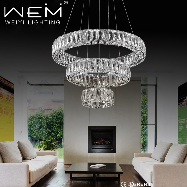 Weiyi MD7140-56 Adjustable Modern 3 rings Simple Crystal Hanging Lamp 56W Luxury Lobby Pendant Lighting