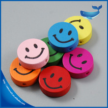 Custom 18mm kids accessories DIY jewelry making smile face wooden beads