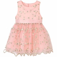 2017 New design Beautiful lace flower fancy dresses for baby girl kids frock designs